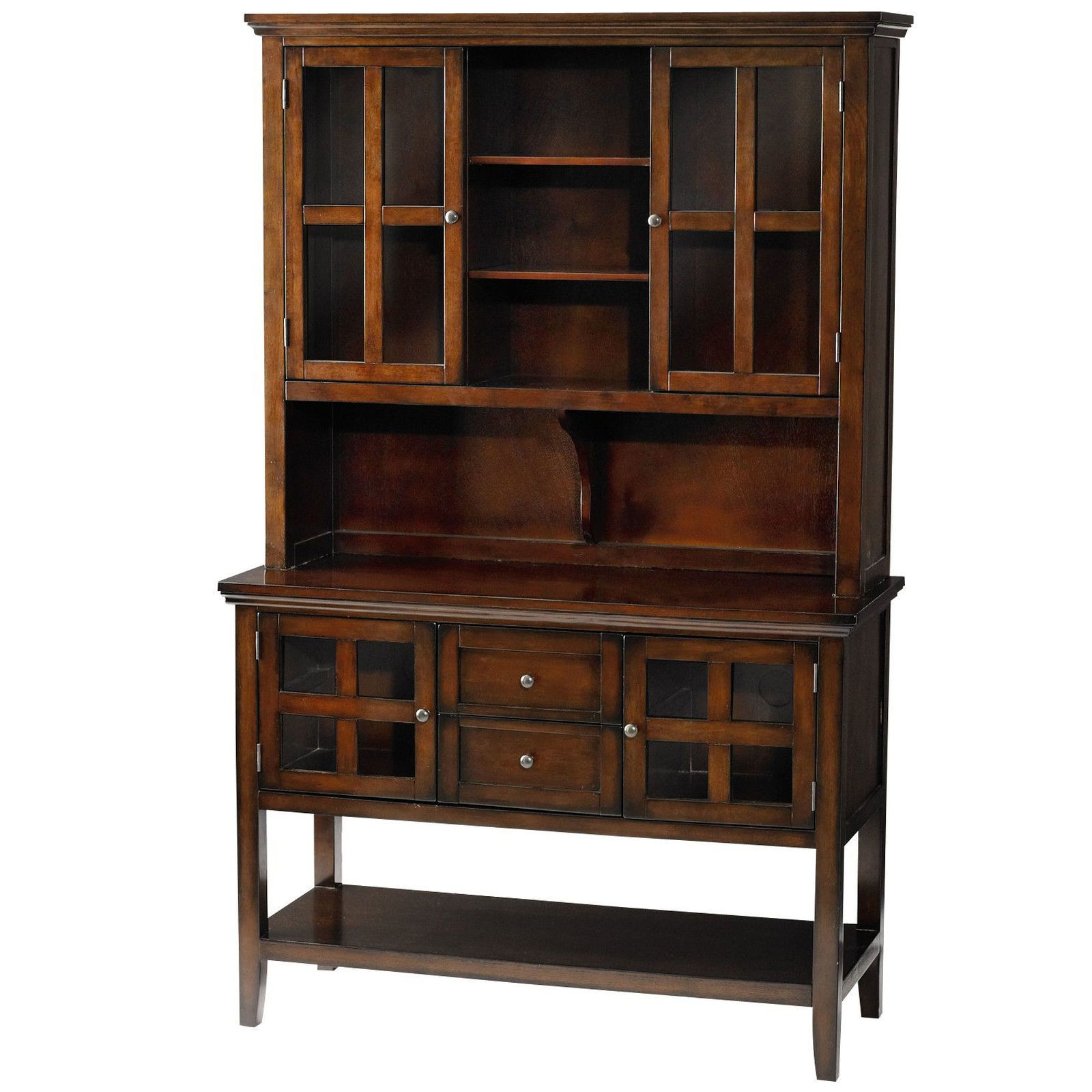 Wood Accent Sideboards Buffet Serving Storage Cabinet With 4 Framed Glass Doors Regarding Fashionable Ronan Tobacco Brown Small Buffet Table In (View 3 of 20)