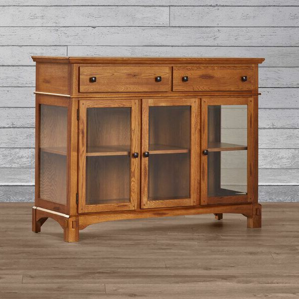 Wood Accent Sideboards Buffet Serving Storage Cabinet With 4 Framed Glass Doors Regarding Trendy Corwin Buffet Table In (View 11 of 20)