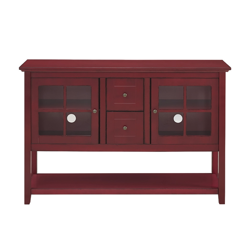 """Wood Accent Sideboards Buffet Serving Storage Cabinet With 4 Framed Glass Doors With Regard To 2019 52"""" Wood Console Table Tv Stand – Antique Red (View 7 of 20)"""