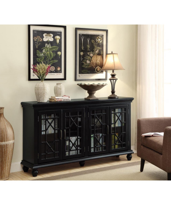 Featured Photo of Wood Accent Sideboards Buffet Serving Storage Cabinet With 4 Framed Glass Doors