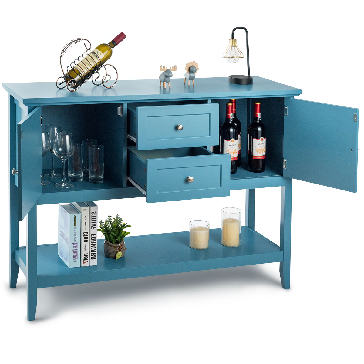 """Wooden Sideboard Buffet Table Console Table W/ 2 Drawer Throughout Fashionable Frida 71"""" Wide 2 Drawer Sideboards (View 20 of 20)"""