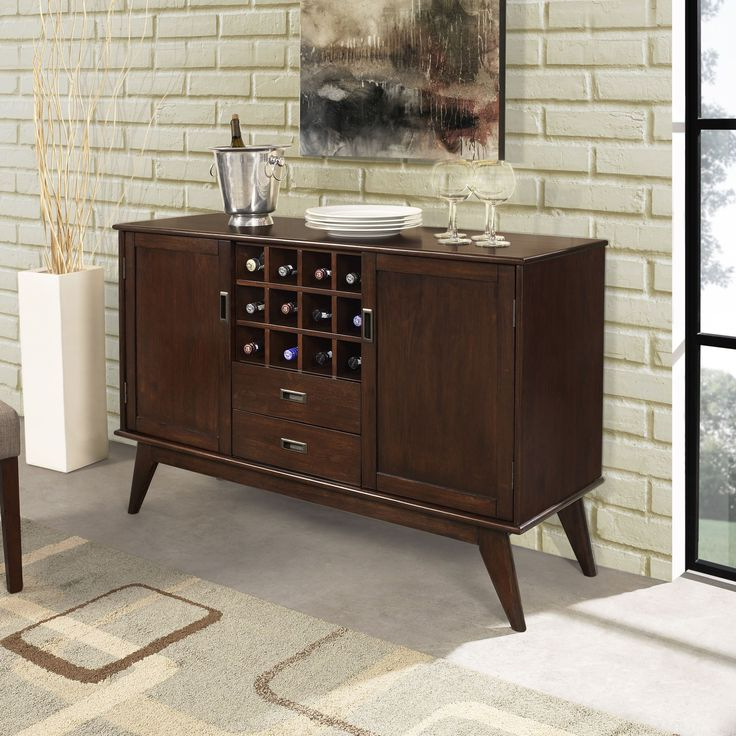 """Wyndenhall Tierney Solid Hardwood 54 Inch Wide Mid Century Pertaining To Trendy Elllise 62"""" Wide Sideboards (View 13 of 20)"""