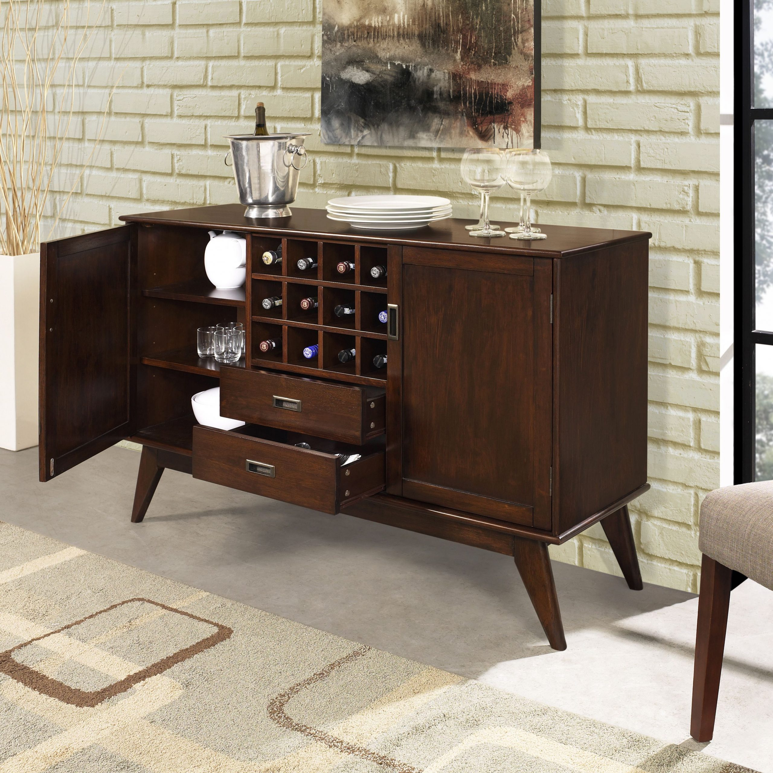 """Wyndenhall Tierney Solid Hardwood 54 Inch Wide Mid Century Throughout Popular Brentley 54"""" Wide 1 Drawer Sideboards (View 13 of 20)"""