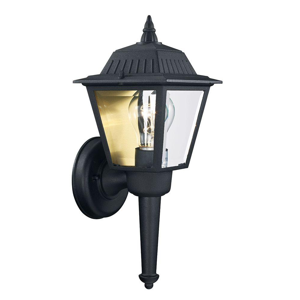 1 – Bulb Outdoor Wall Lanterns For Fashionable Hampton Bay 1 Light Aged Iron Outdoor Wall Mount Lantern (View 14 of 20)