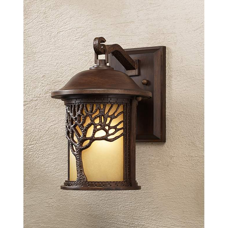 """1 – Bulb Outdoor Wall Lanterns Throughout Most Popular Bronze Mission Style Tree 12 1/4"""" High Outdoor Wall Light (View 4 of 20)"""