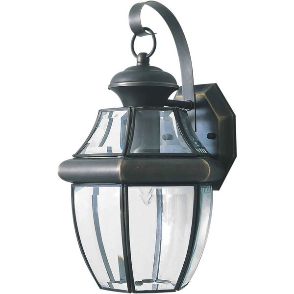 1 Light Royal Bronze Outdoor Wall Lantern With Clear Intended For Most Current Verne Oil Rubbed Bronze Beveled Glass Outdoor Wall Lanterns (View 10 of 20)