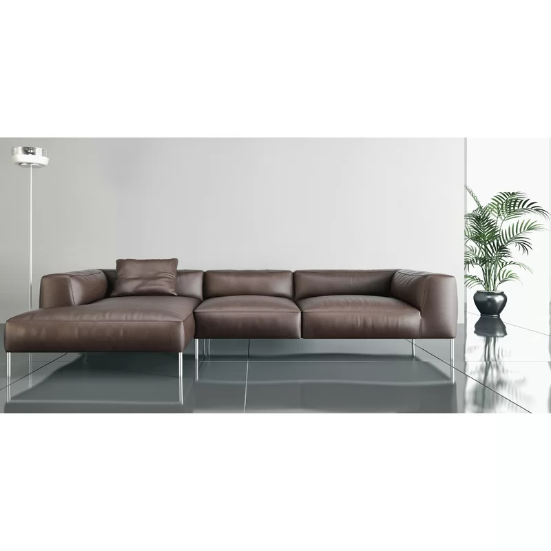 """[%100"""" Wide Genuine Leather Right Hand Facing Sofa & Chaise Intended For Current Matilda 100% Top Grain Leather Chaise Sectional Sofas