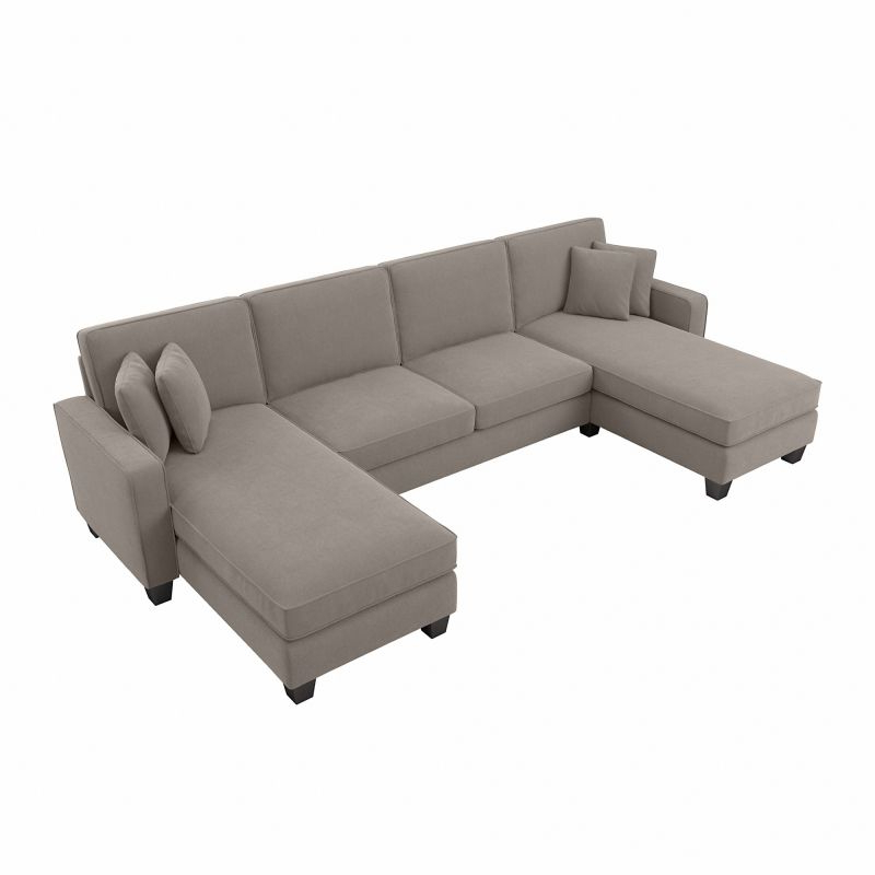 """130"""" Stockton Sectional Couches With Double Chaise Lounge Herringbone Fabric In Preferred Sofas And Sectionals (View 9 of 20)"""