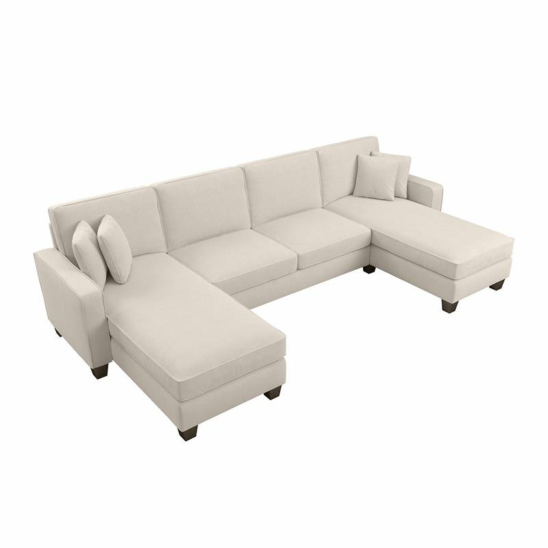 """130"""" Stockton Sectional Couches With Double Chaise Lounge Herringbone Fabric In Widely Used Stockton 130w Sectional With Double Chaise In Cream (View 1 of 20)"""