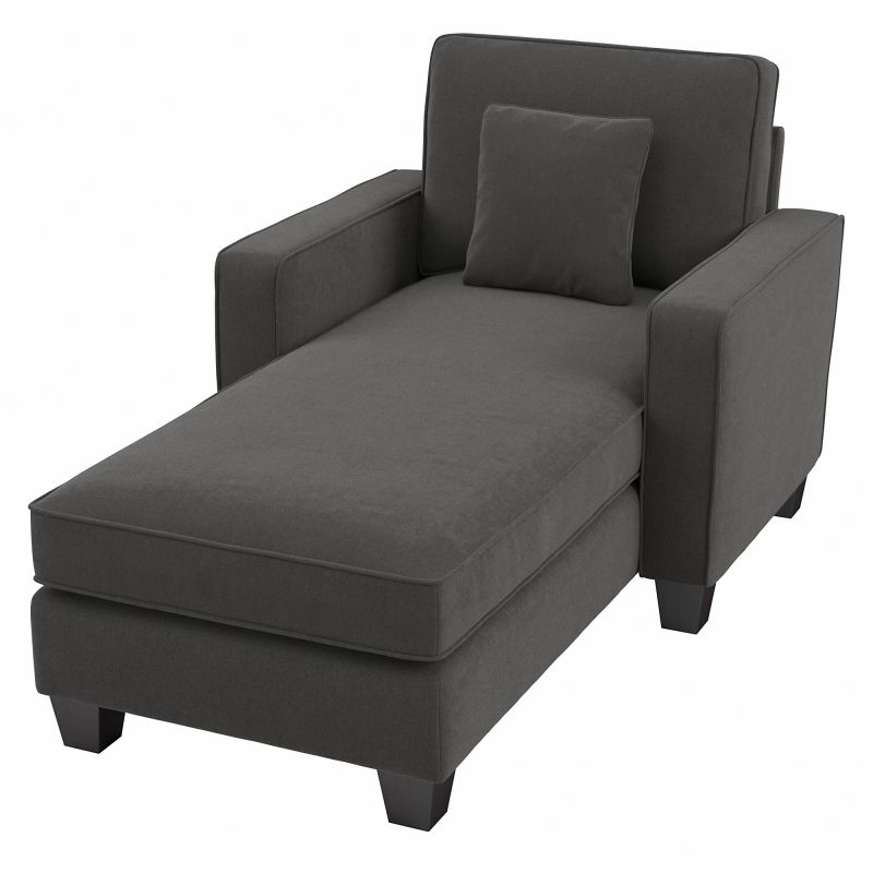 """130"""" Stockton Sectional Couches With Double Chaise Lounge Herringbone Fabric With Regard To Newest Bush Furniture Stockton 130w Sectional Couch With Double (View 5 of 20)"""