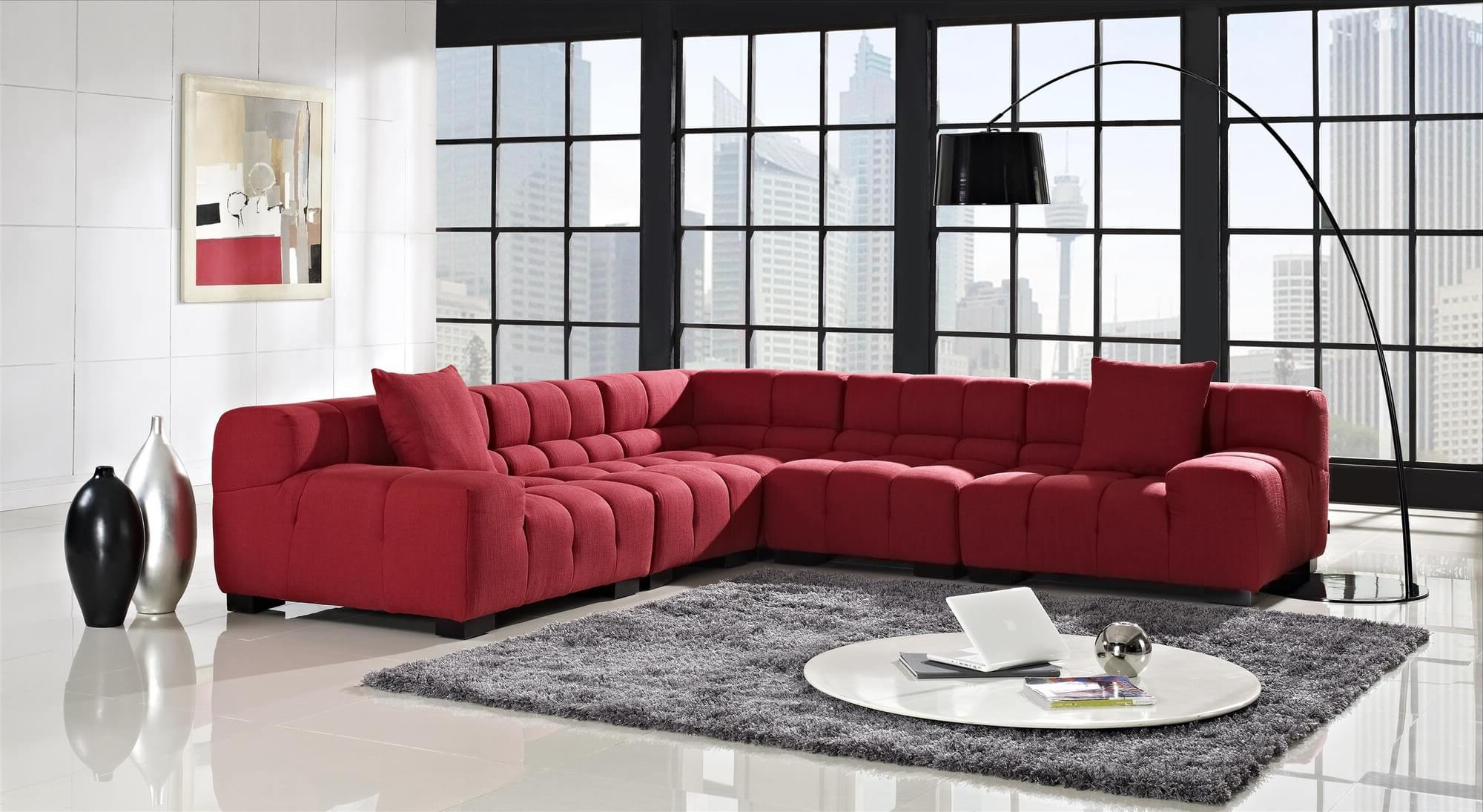 18 Stylish Modern Red Sectional Sofas Pertaining To Latest Mireille Modern And Contemporary Fabric Upholstered Sectional Sofas (View 13 of 20)