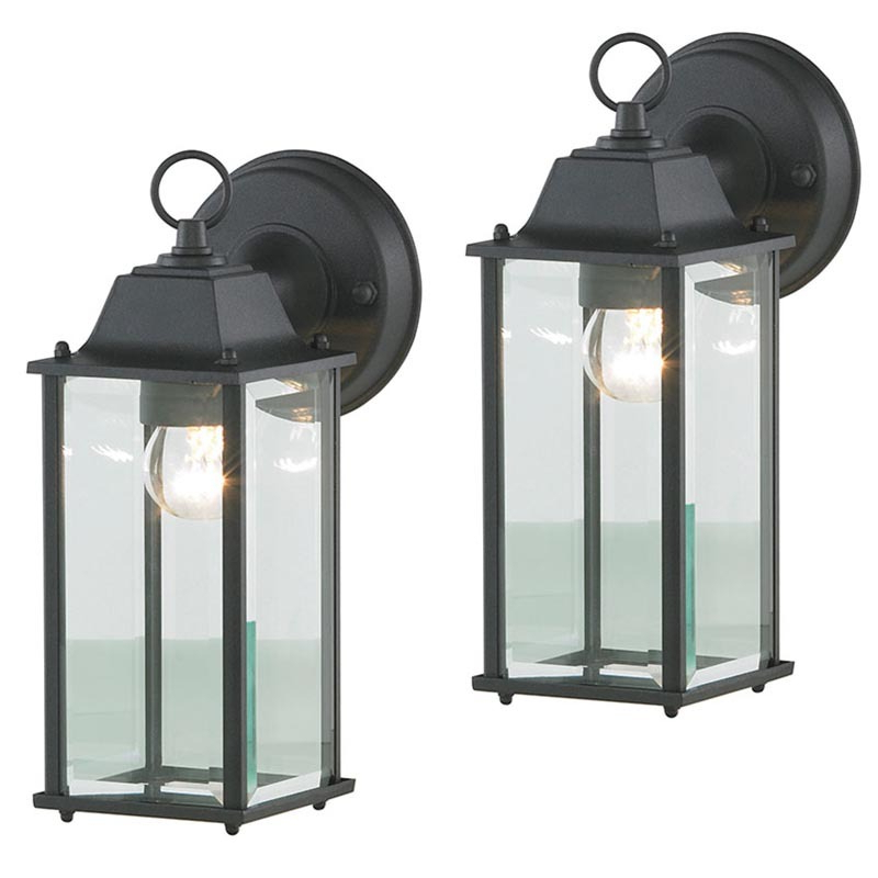 2 Pack Colone Outdoor Glass Black Wall Light Lantern Regarding Most Recent Carrington Beveled Glass Outdoor Wall Lanterns (View 9 of 20)