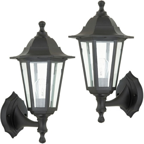 2 Pack Ip44 Outdoor Wall Light  Black Rust Proof, Glass With Regard To Most Popular Rockefeller Black 2 – Bulb  Outdoor Wall Lanterns (View 10 of 20)