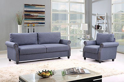 2 Piece Classic Linen Fabric Living Room Sofa And Armchair Throughout Preferred 2pc Polyfiber Sectional Sofas With Nailhead Trims Gray (View 13 of 20)