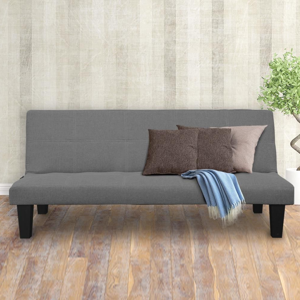 2 Seater Modular Linen Fabric Sofa Bed Couch – Dark Grey Inside Well Known Polyfiber Linen Fabric Sectional Sofas Dark Gray (View 17 of 20)