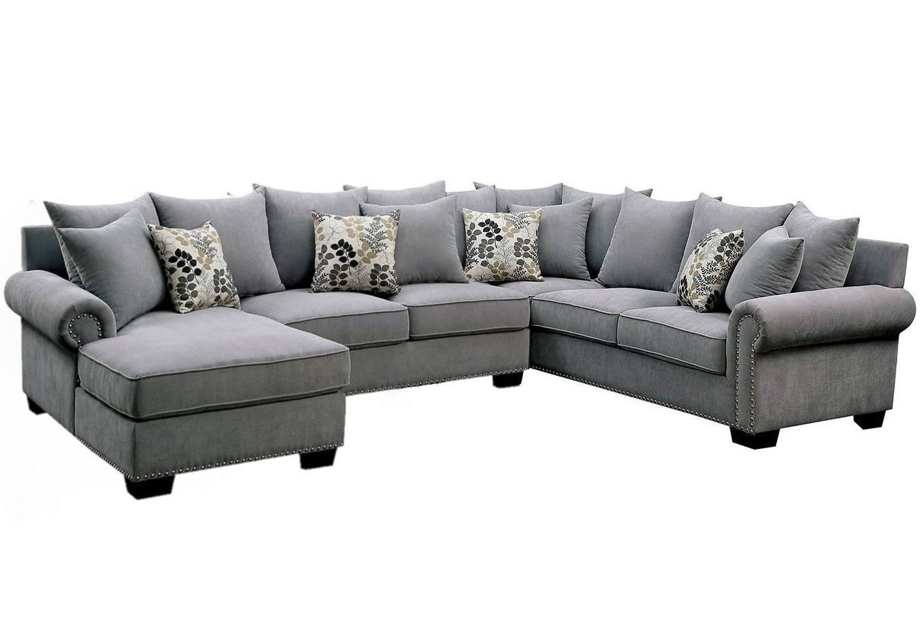 2018 2pc Polyfiber Sectional Sofas With Nailhead Trims Gray Intended For Skyler Ii Transitional Gray Fabric Upholstered Sectional (View 10 of 20)