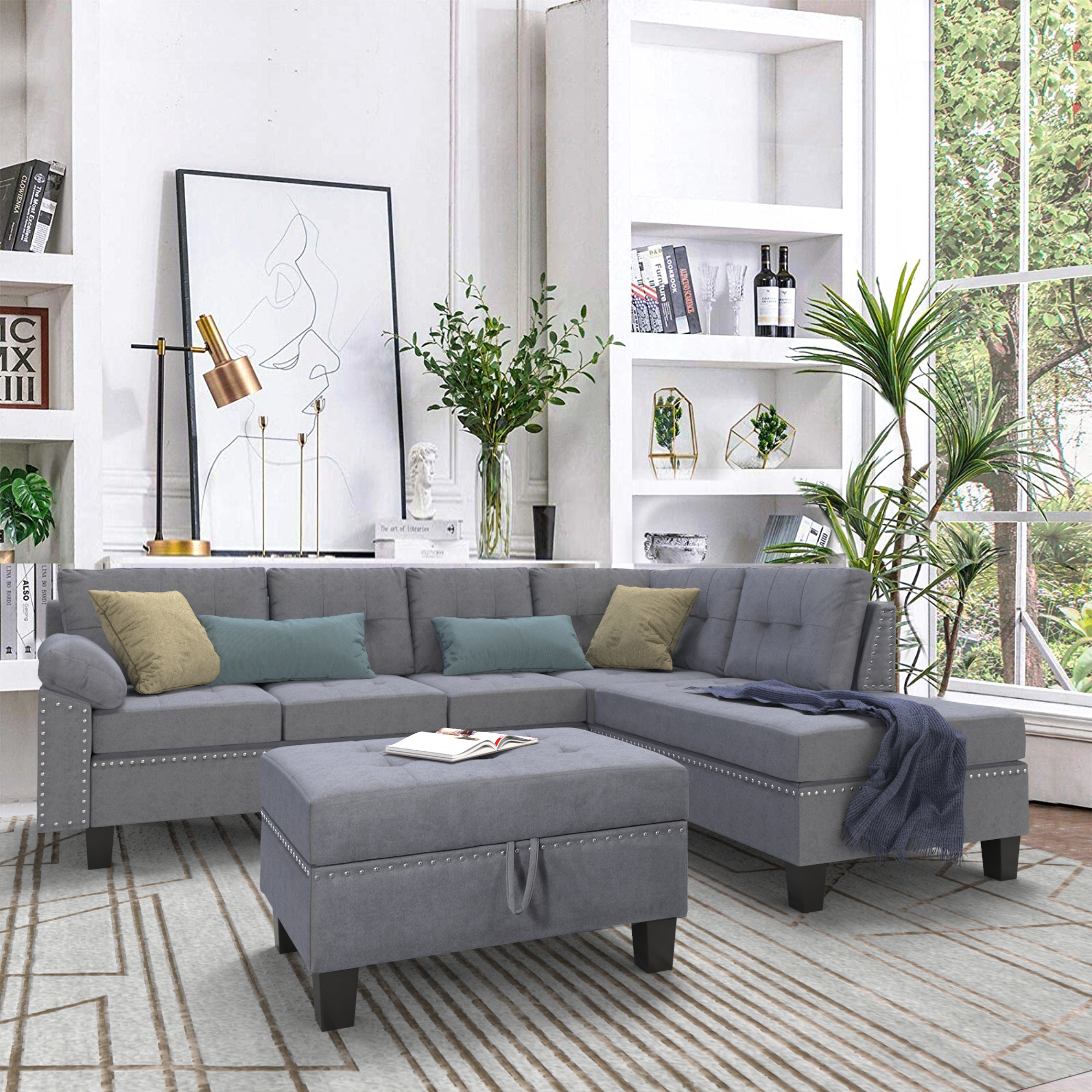 """2018 4pc Crowningshield Contemporary Chaise Sectional Sofas Within Clearance! Segmart 104.7""""x (View 2 of 20)"""