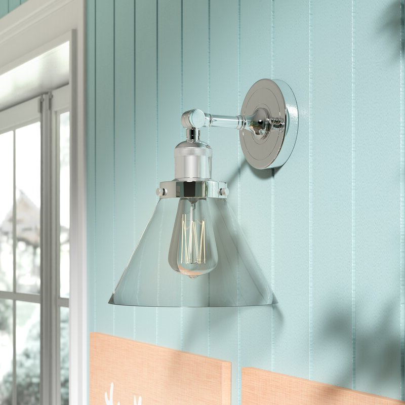 2018 Cantrall 8'' H Outdoor Armed Sconces Throughout Breakwater Bay Nealon 1 – Light Polished Chrome Armed (View 4 of 20)