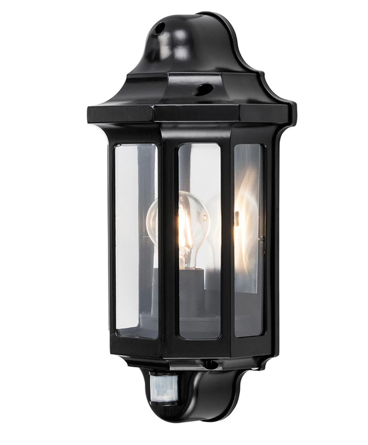 2018 Clarence Black Outdoor Wall Lanterns Throughout Traditional 1 Light Outdoor Wall Half Lantern Pir Satin (View 13 of 20)
