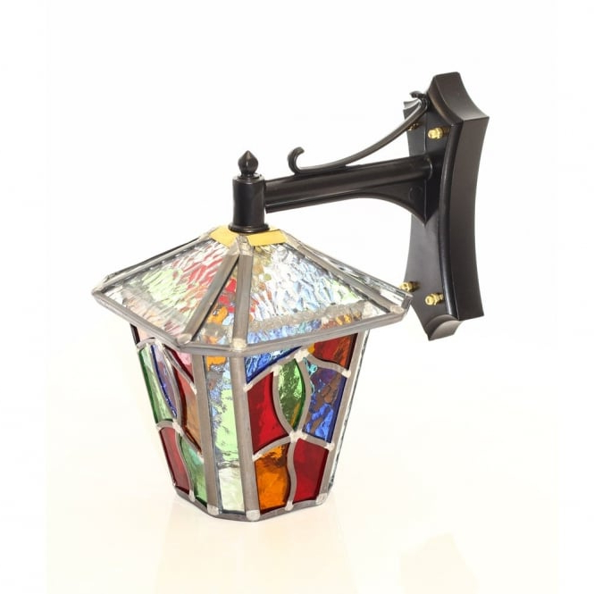 2018 Decorative Multi Coloured Stain Glass Outdoor Wall Lantern In Bayou Beveled Glass Outdoor Wall Lanterns (View 5 of 20)
