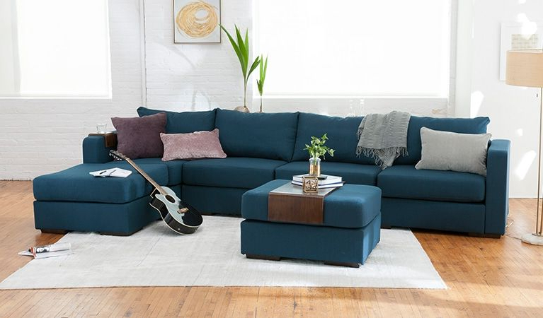 2018 Dream Navy 3 Piece Modular Sofas For L Sectional Build A Couch With Extra Covers, Washable (View 1 of 20)