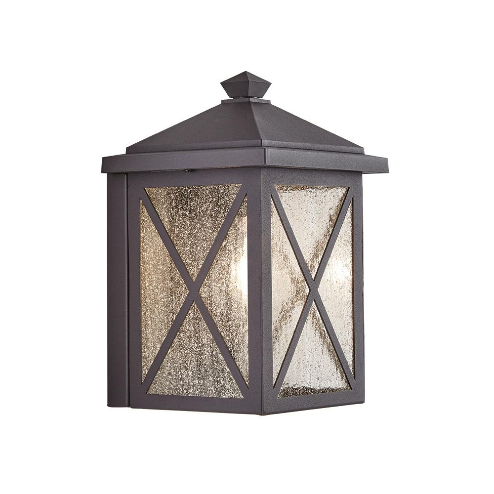 2018 Emaje Black Seeded Glass Outdoor Wall Lanterns With Regard To Home Decorators Collection Criss Cross 1 Light Small Black (View 14 of 20)