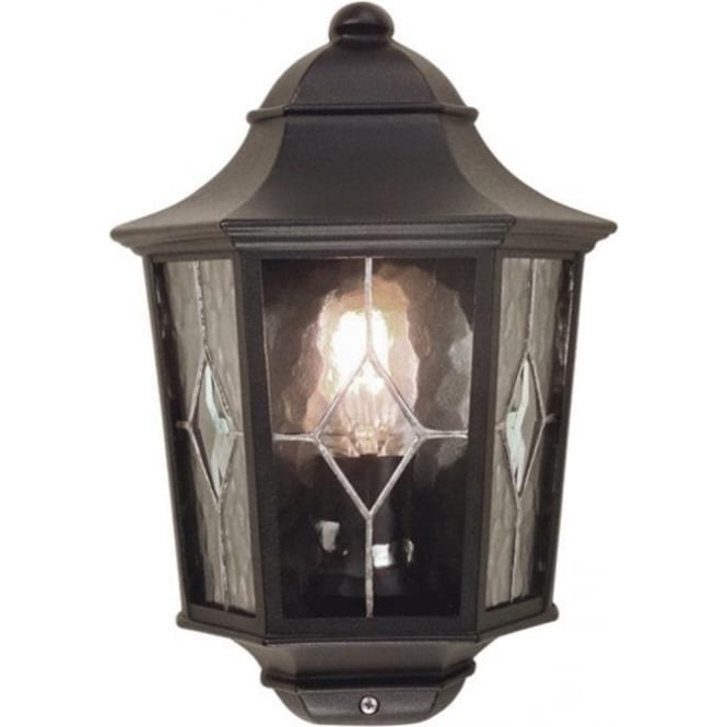 2018 Flush Fitting Outside Wall Lantern With Leaded Glass Panels Inside Carrington Beveled Glass Outdoor Wall Lanterns (View 13 of 20)