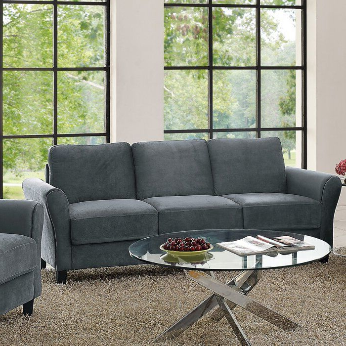 2018 Gracie Navy Sofas Throughout Andover Mills Celestia Rolled Arm Sofa & Reviews (View 5 of 20)