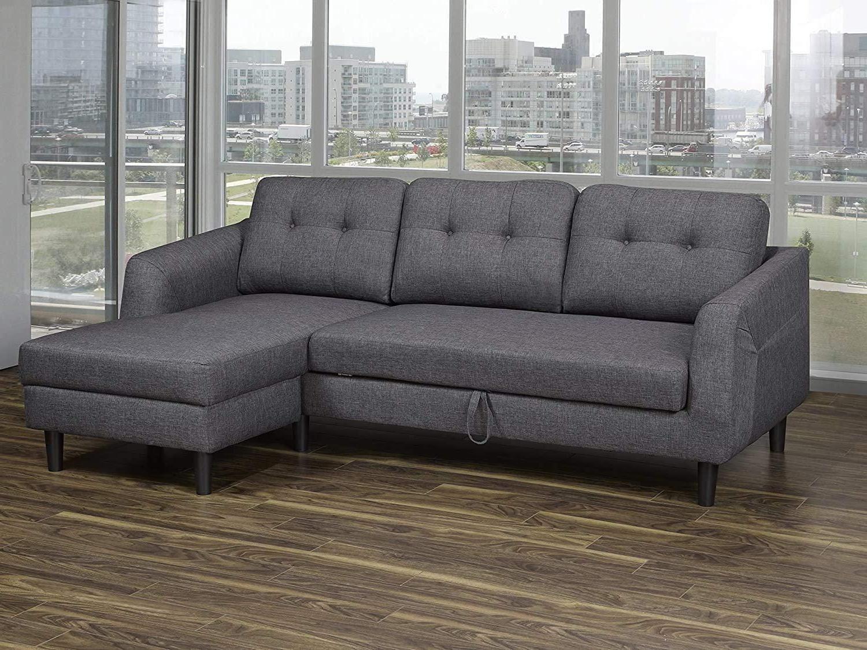 2018 K Living Katie Linen Fabric Sofa Bed Sectional In Dark Regarding Polyfiber Linen Fabric Sectional Sofas Dark Gray (View 3 of 20)