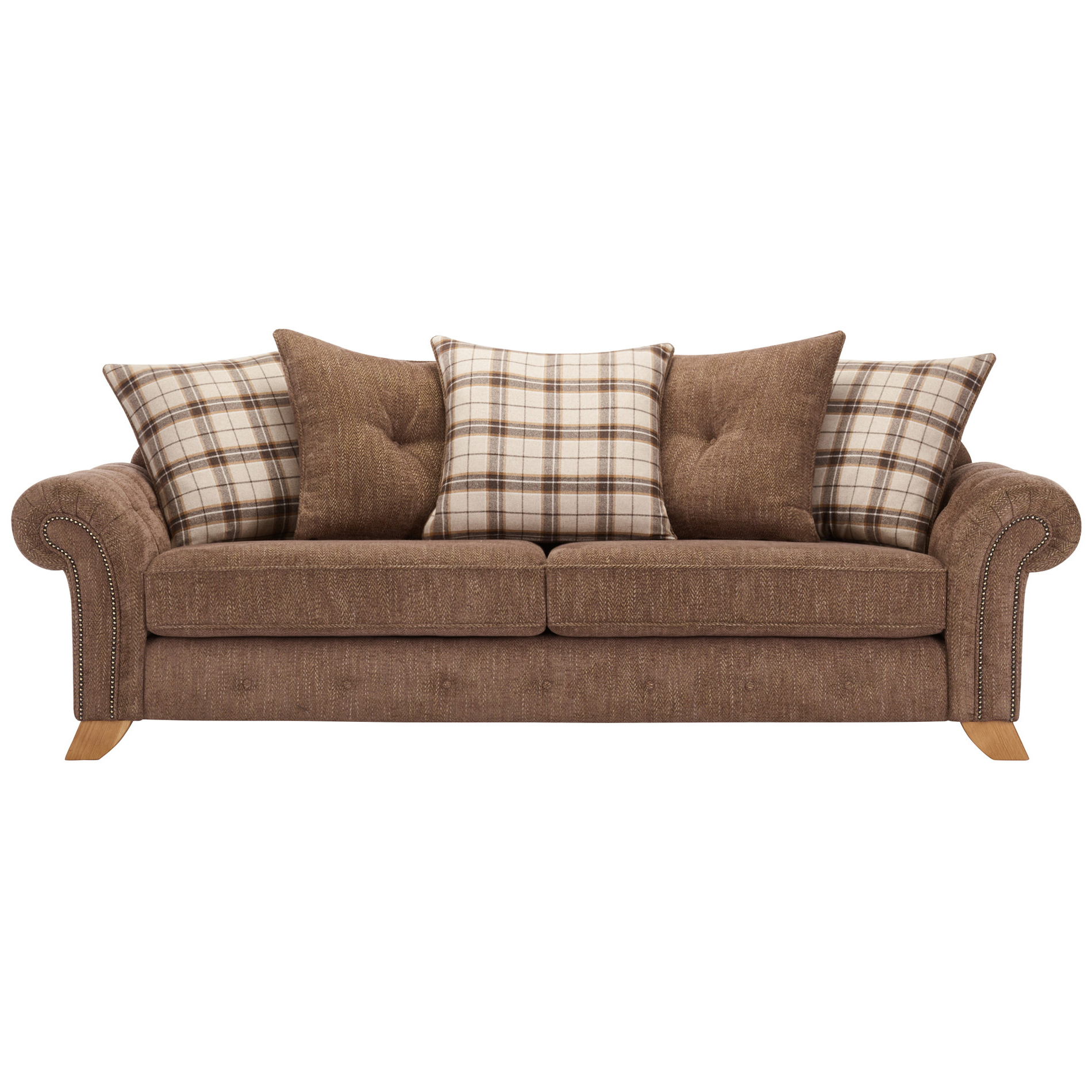 2018 Lyvia Pillowback Sofa Sectional Sofas Inside Montana 4 Seater Sofa With Pillow Back In Brown Fabric (View 13 of 20)