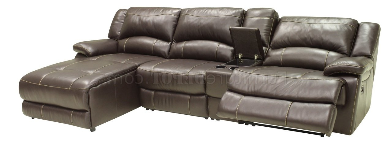 2018 Mahogany Full Leather 4pc Modern Sectional Reclining Sofa With 4pc Beckett Contemporary Sectional Sofas And Ottoman Sets (View 10 of 20)