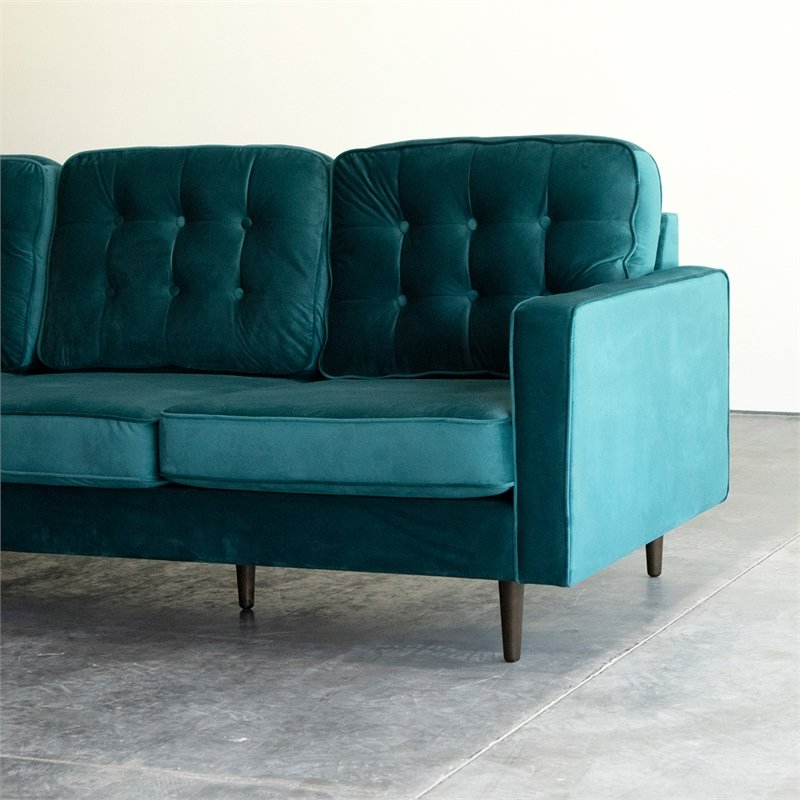 2018 Mid Century Modern Kayle Teal Velvet Reversible Sectional Intended For Verona Mid Century Reversible Sectional Sofas (View 3 of 20)