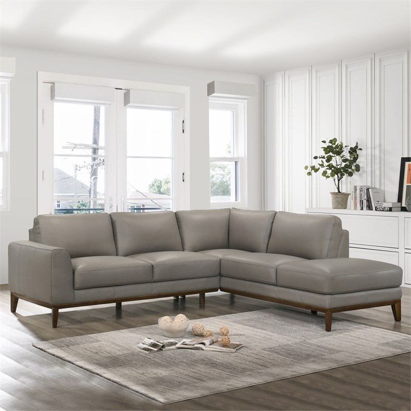 2018 Mid Century Modern Milton Gray Leather Sectional Sofa Within Alani Mid Century Modern Sectional Sofas With Chaise (View 17 of 20)
