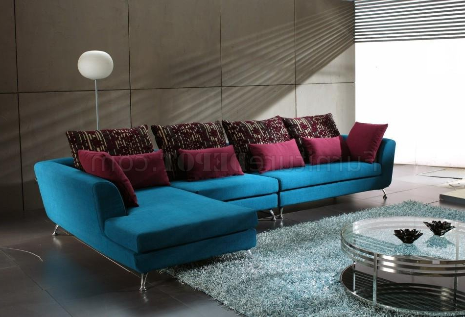 2018 Mireille Modern And Contemporary Fabric Upholstered Sectional Sofas With Blue Fabric Modern Sectional Sofa W/contrasting Pillows (View 4 of 20)