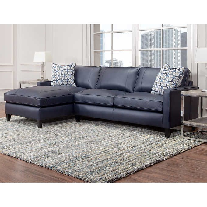 2018 Molnar Upholstered Sectional Sofas Blue/gray With Regard To Griffith Top Grain Leather Sectional, Navy Blue (View 8 of 20)