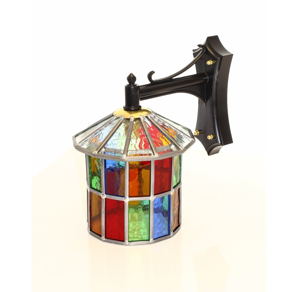 2018 Multi Coloured Stained Glass Outdoor Wall Lantern Regarding Carrington Beveled Glass Outdoor Wall Lanterns (View 16 of 20)