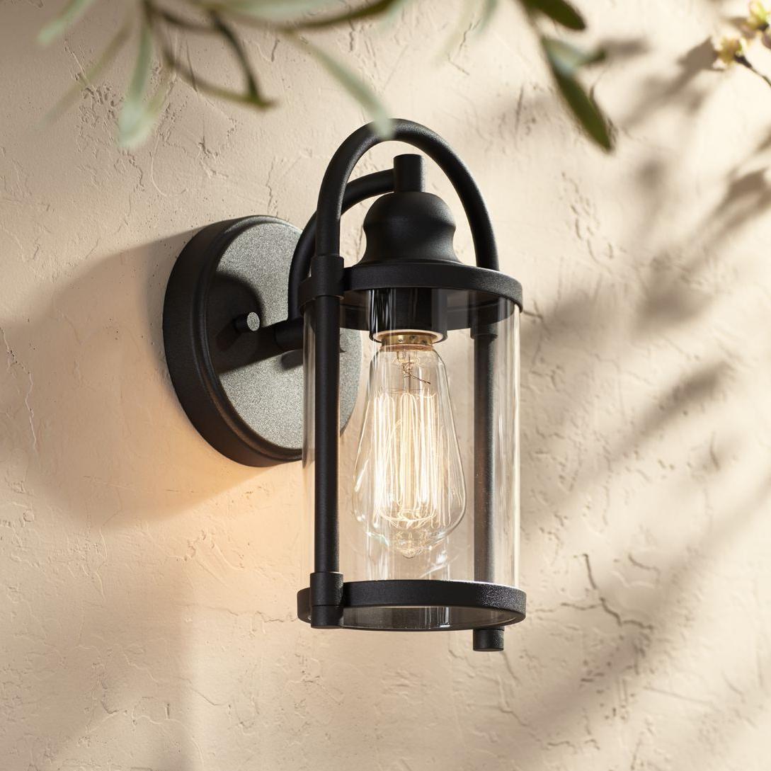 2018 Nayen Black Wall Lanterns Within John Timberland Modern Outdoor Wall Light Fixture Black  (View 4 of 20)