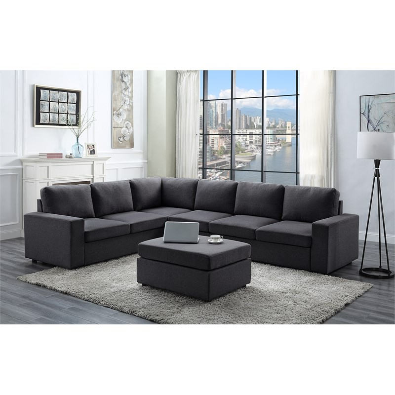 2018 Polyfiber Linen Fabric Sectional Sofas Dark Gray With Bayside Modular Sectional Sofa With Ottoman In Dark Gray (View 4 of 20)