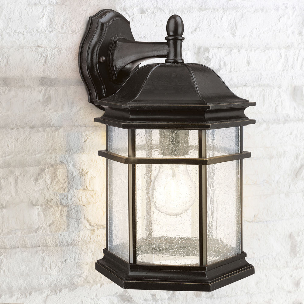 2018 Seeded Glass Outdoor Wall Light Bronze 13 Inch Dolan With Anner Seeded Glass Outdoor Wall Lanterns (View 14 of 20)