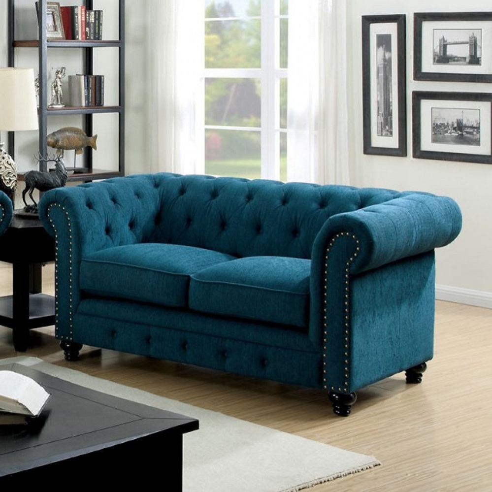 2018 Stanford Dark Teal Fabric Loveseat Regarding 3pc Polyfiber Sectional Sofas With Nail Head Trim Blue/gray (View 3 of 20)