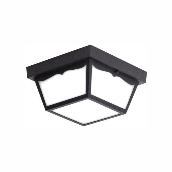 2018 Whisnant Black Integrated Led Frosted Glass Outdoor Flush Mount With Regard To Euri Lighting Matte Black Integrated Led Outdoor Flush (View 7 of 20)