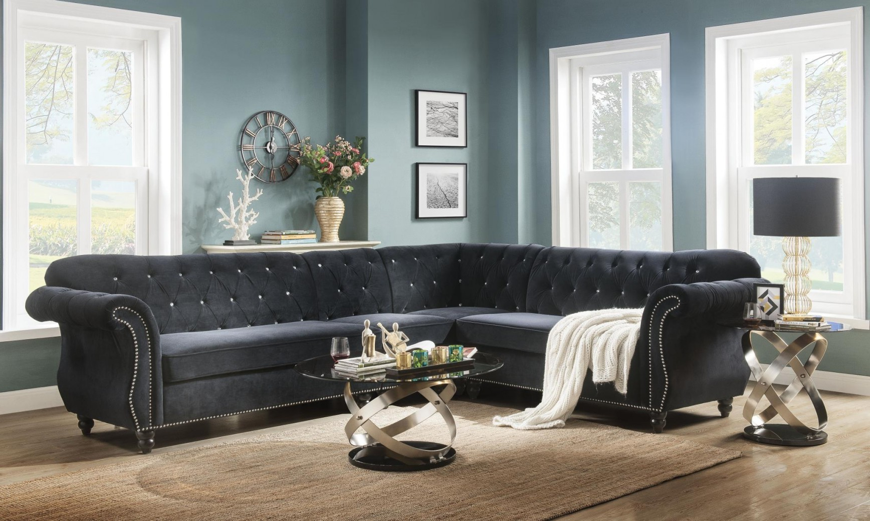 2019 3pc French Seamed Sectional Sofas Velvet Black With Regard To 52750 Black Velvet Sectional Sofa Acme Regan Collection (View 11 of 20)
