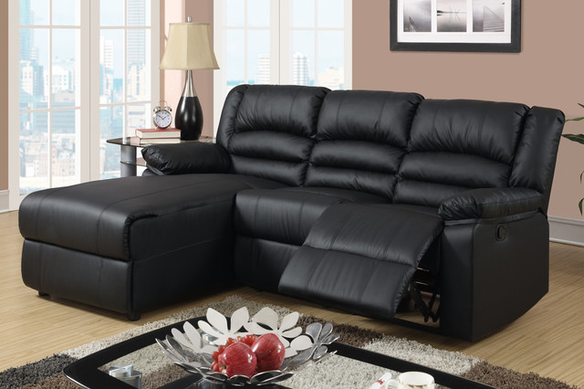 2019 Bonded Leather All In One Sectional Sofas With Ottoman And 2 Pillows Brown Regarding Small Black Leather Reclining Sectional Sofa Set Recliner (View 5 of 20)