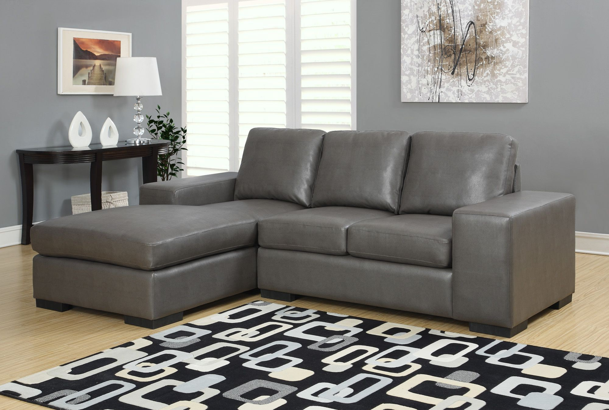 2019 Charcoal Gray Bonded Leather/match Sofa Sectional From Intended For Sectional Sofas In Gray (View 7 of 20)