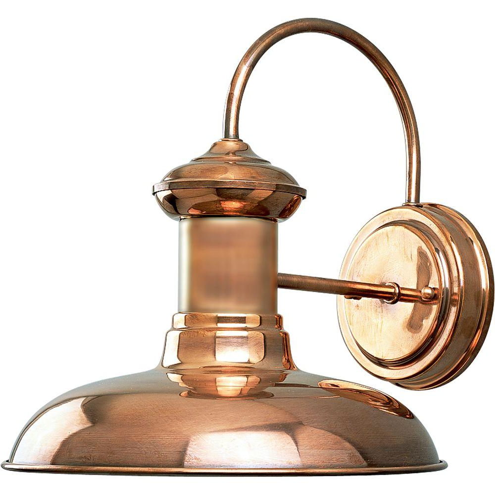 2019 Ciotti Black Outdoor Wall Lanterns Within Progress Lighting Brookside Collection 1 Light Copper (View 13 of 20)