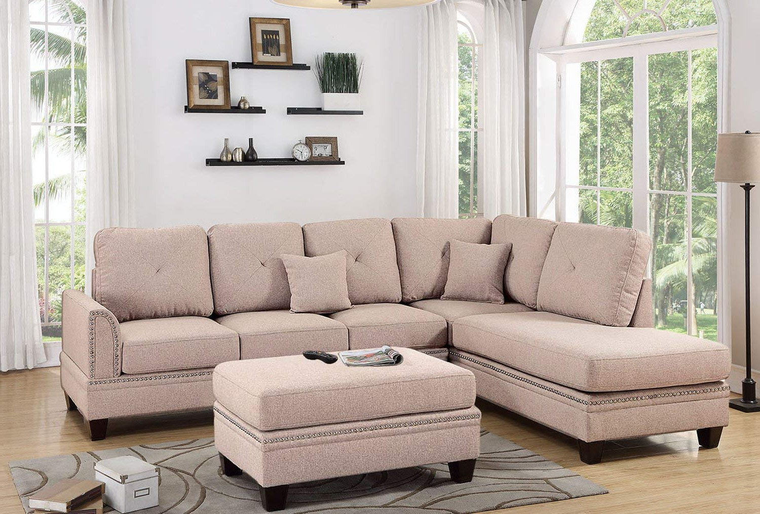 2019 Coffee 2pc Sectional Sofa With Nail Head Trim Accents With 2pc Polyfiber Sectional Sofas With Nailhead Trims Gray (View 15 of 20)