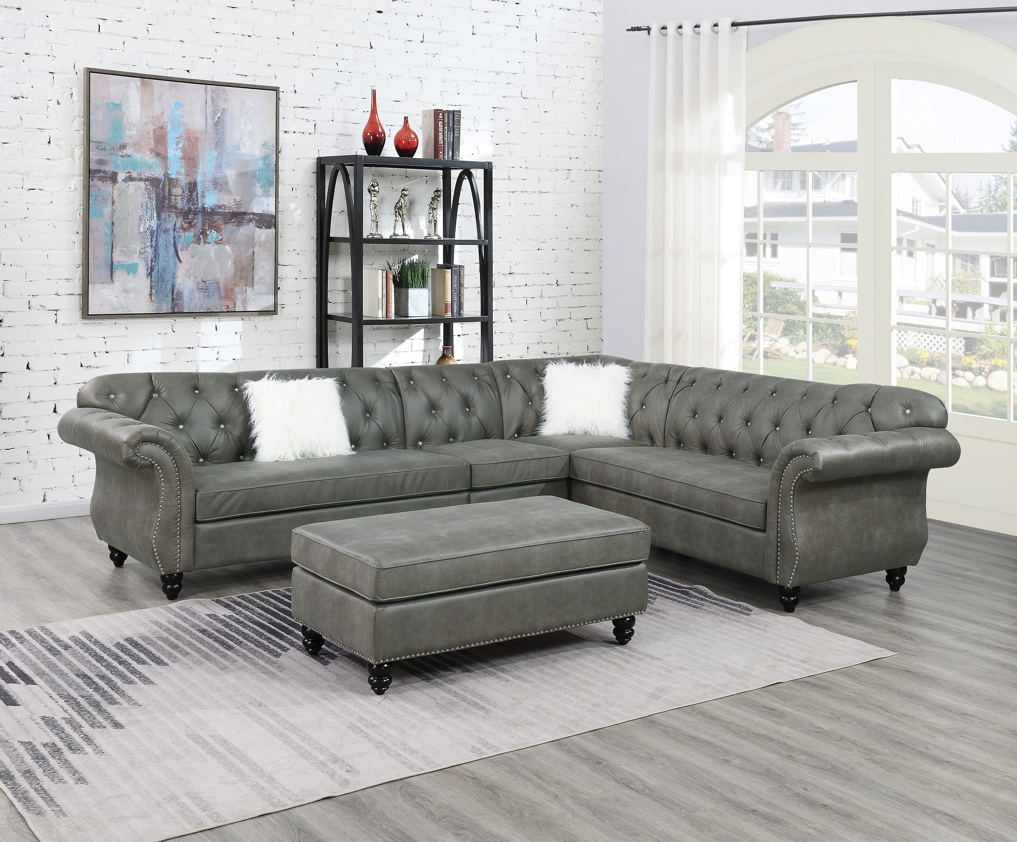 2019 Contemporary Modern Living Room Sectional Sofa Set Slate In 4pc Beckett Contemporary Sectional Sofas And Ottoman Sets (View 2 of 20)