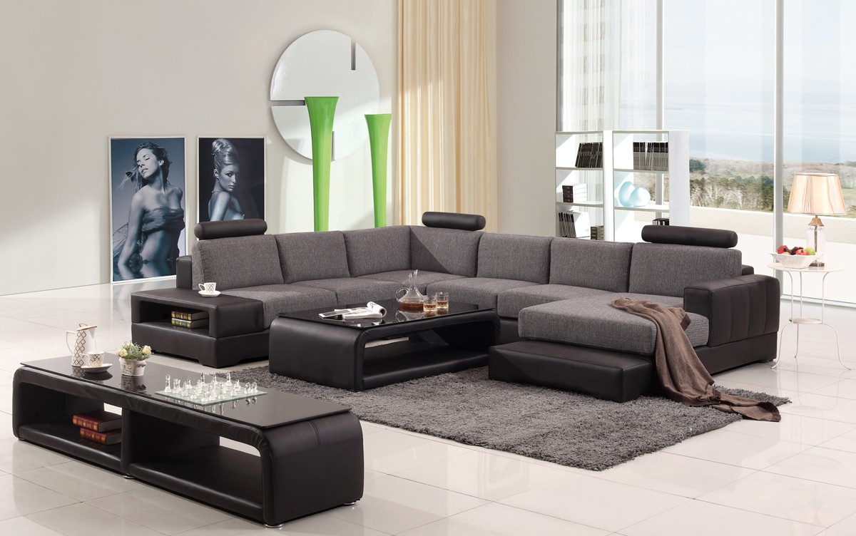 2019 Divani Casa Modern Black & Grey Fabric & Leather Sectional With Regard To Mireille Modern And Contemporary Fabric Upholstered Sectional Sofas (View 17 of 20)