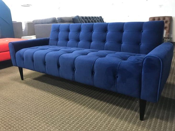 2019 Dove Mid Century Sectional Sofas Dark Blue In Mid Century Modern Blue Velvet Tufted Sofa (View 1 of 20)
