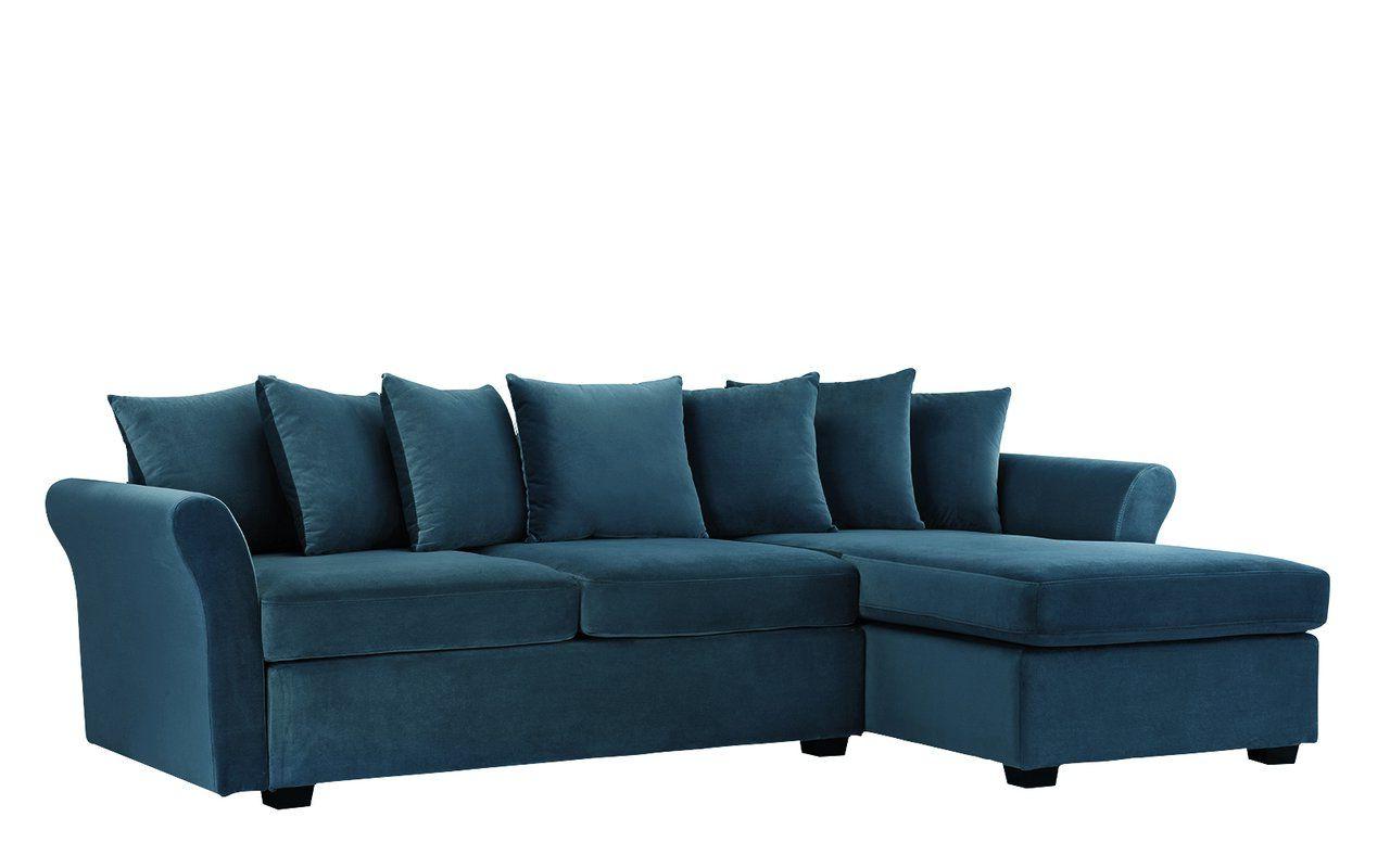 """2019 Florence Mid Century Modern Velvet Left Sectional Sofas For Sanders 96"""" Wide Velvet Left Hand Facing Sofa & Chaise (View 1 of 20)"""
